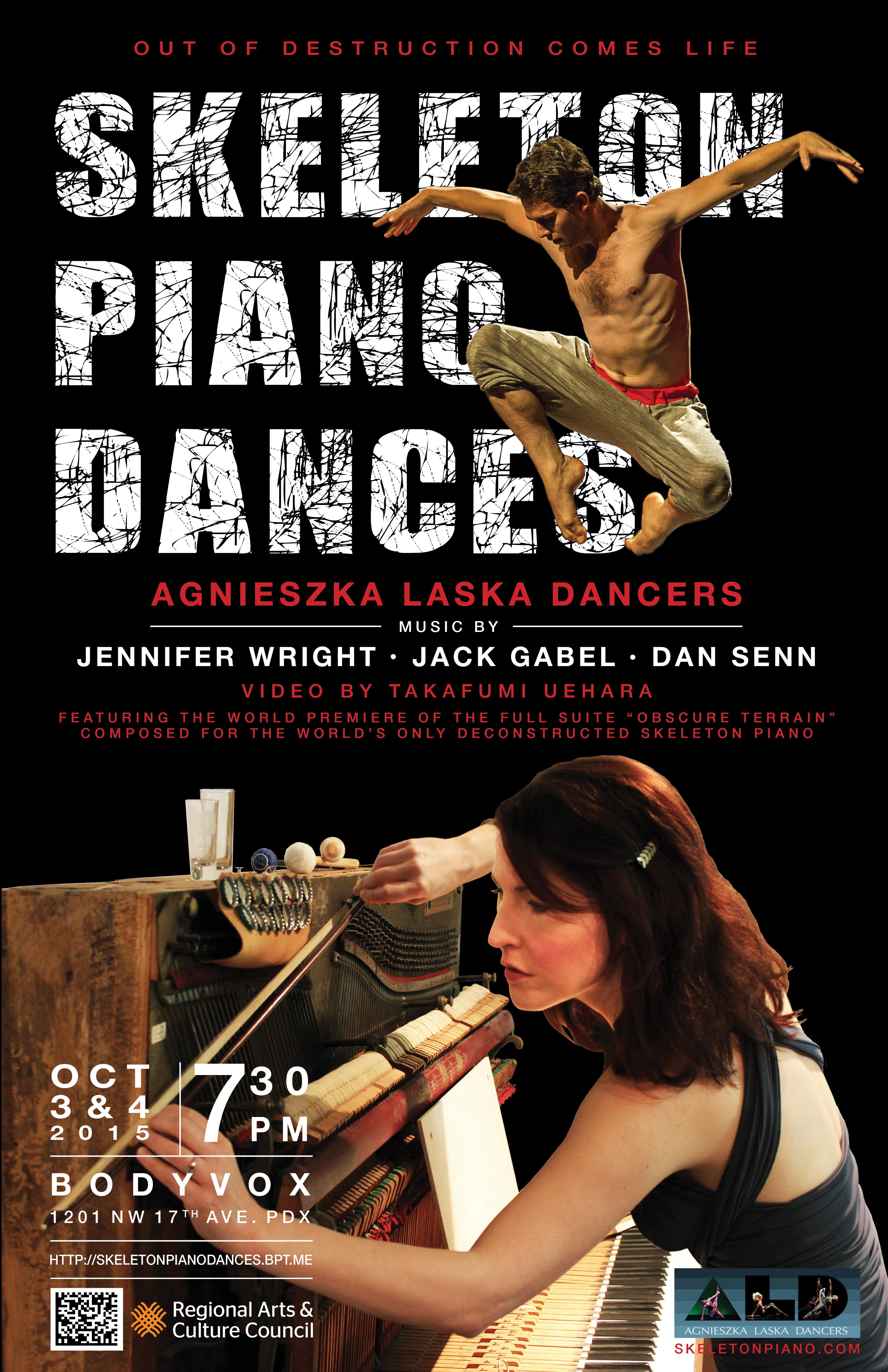 Skeleton Piano Dances poster tabloid